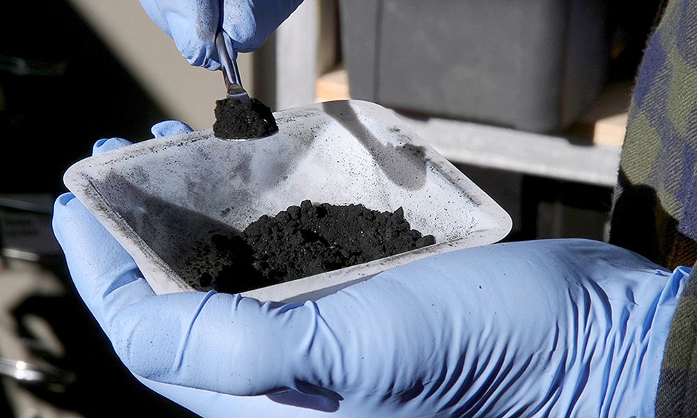 black powder used in research.