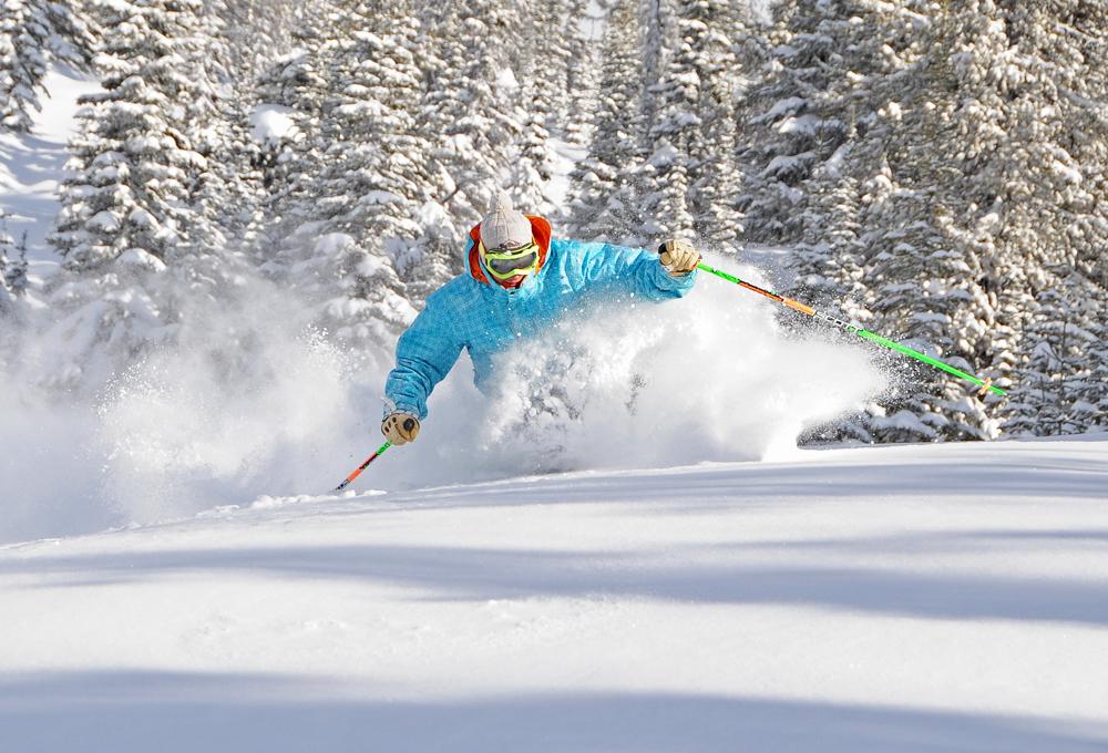 A student skis at Big White ski hill.