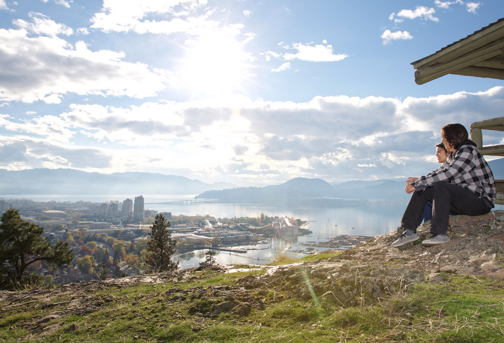 Students admiring the view of downtown Kelowna from Knox Mountain.