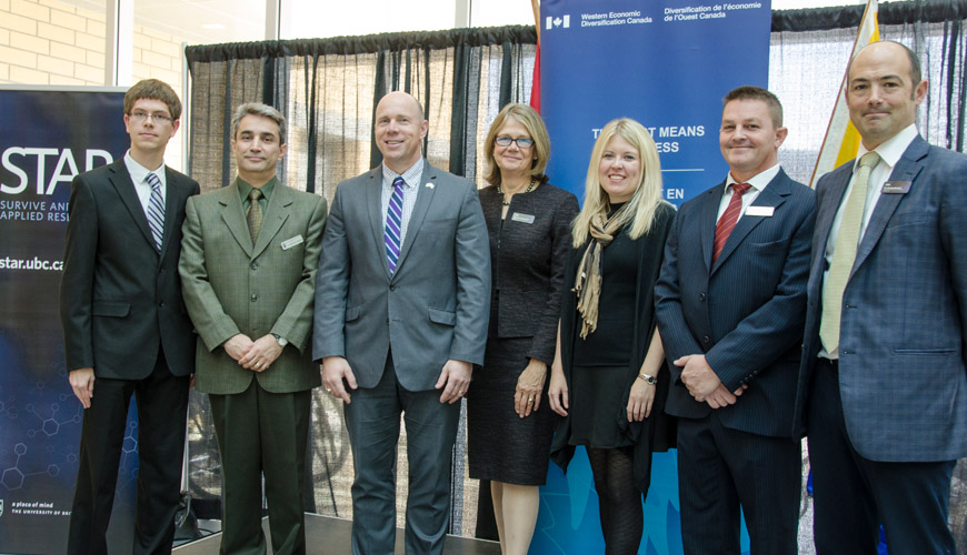 Dignitaries gather to celebrate the Survive and Thrive Applied Research Initiative at UBC Okanagan.