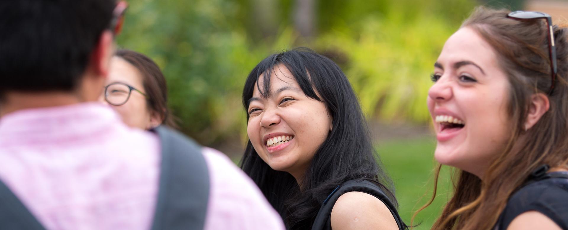 student laughing and enjoying ubco student life