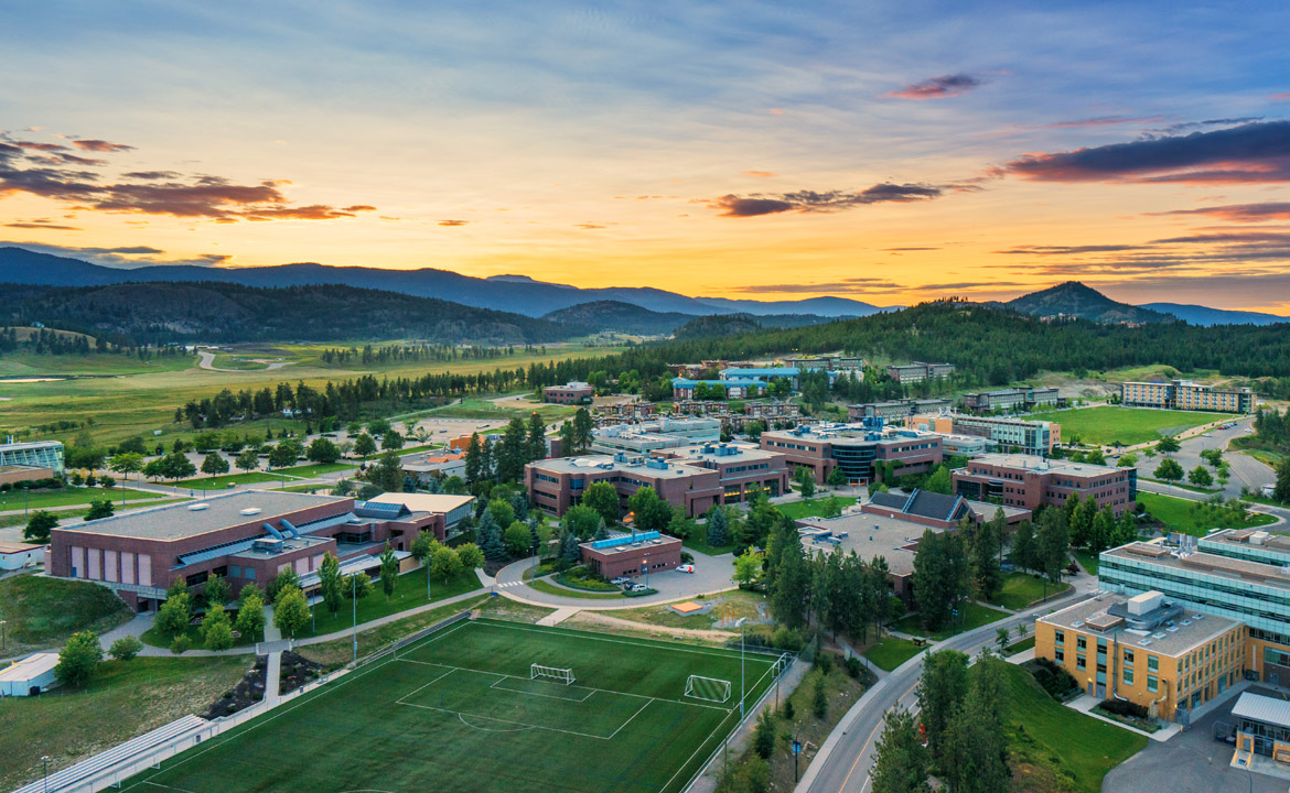 Aerial view of UBC Okanagan at sunset.