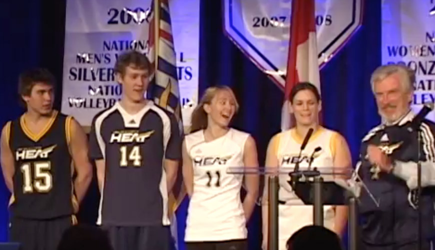 Four UBCO heat share the stage with their coach.