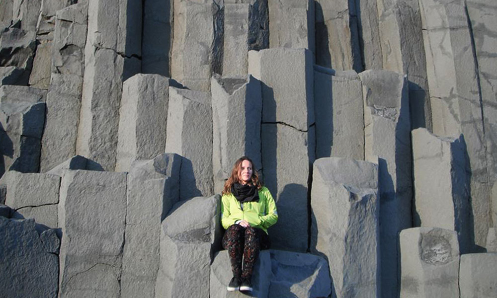 Columnar basaltic columns near Vík, the southernmost village in Iceland
