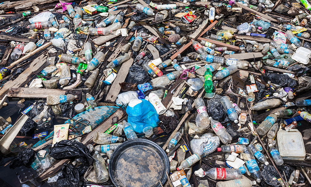Plastic garbage pile on water in Indonesia
