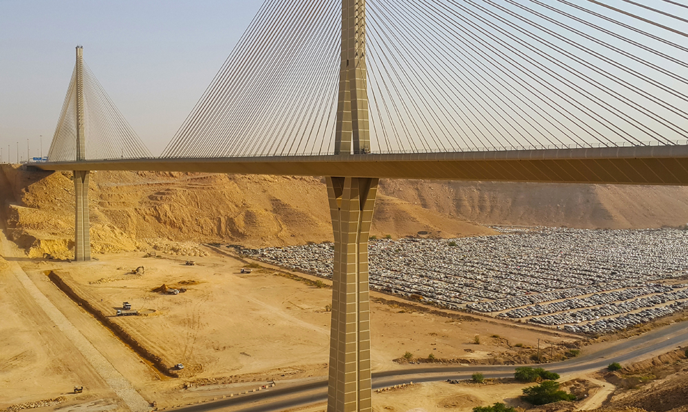 Wadi Laban Bridge, a cable-stayed bridge in Riyadh, in Saudi Arabia