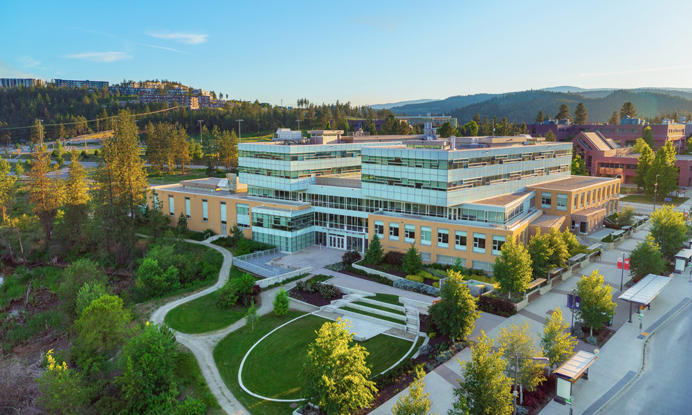 Aerial view of the EME building on UBC's Okanagan campus