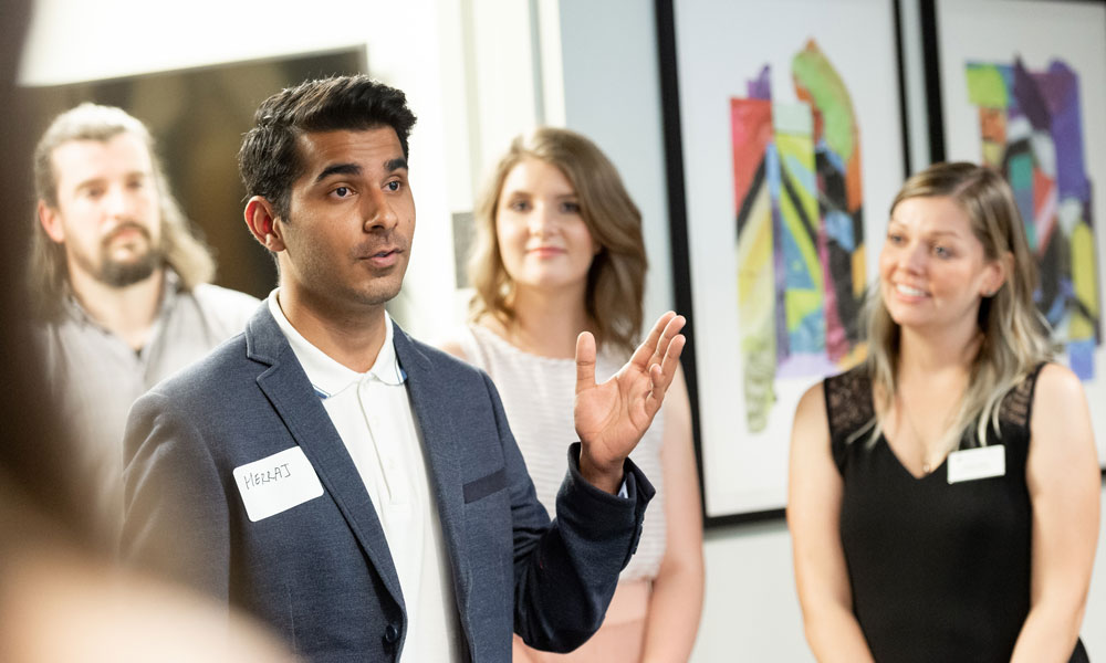 Co-op students engaging at a reception
