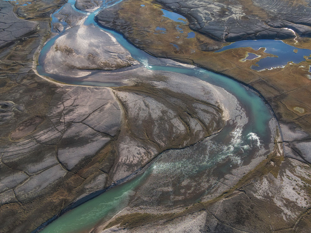 Aerial view of river near Baffin Island.
