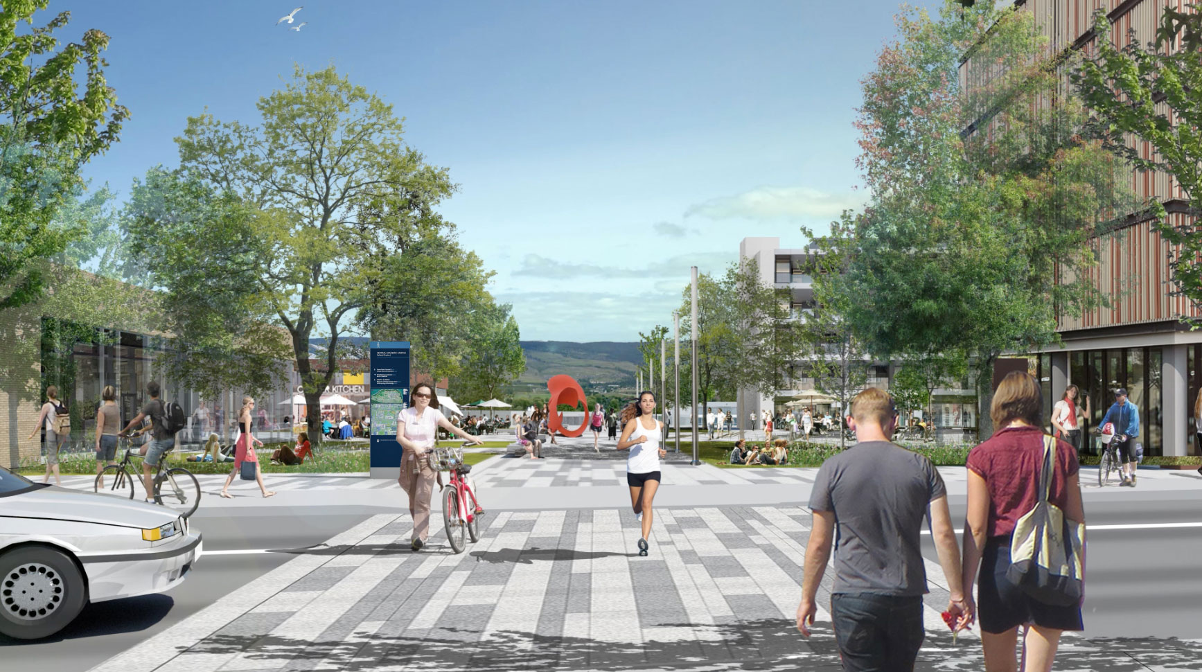 Architectural rendering of a future corridor on the UBC Okanagan campus