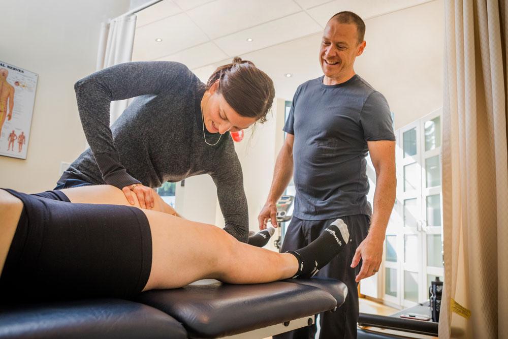 Serwa works on a patient's leg during her physio practicum.