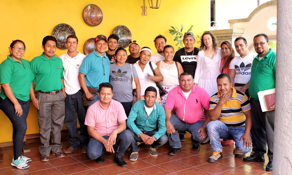 Jasmin photographed with Honduran peasant activists.