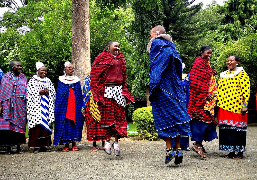 Dancers performing a local cultural dance