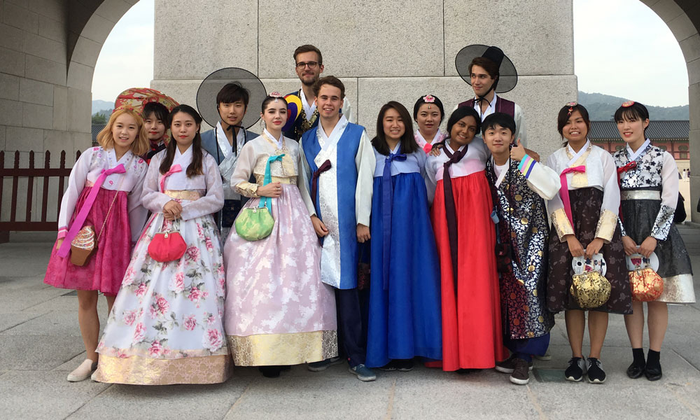 Thish and classmates in traditional Korean hanbok