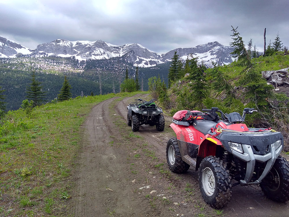 ATVs against beautiful mountain
