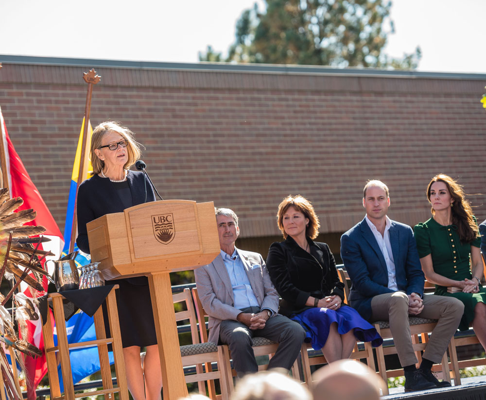 DVC Deborah Buszard speaks on stage during the Royals' visit to the Okanagan campus
