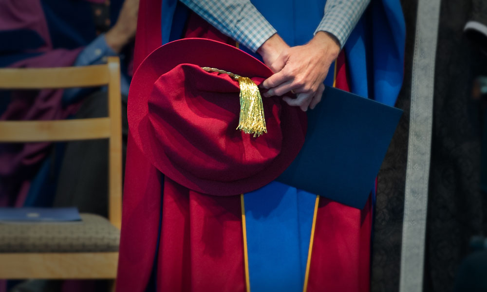 Close-up of PhD hat