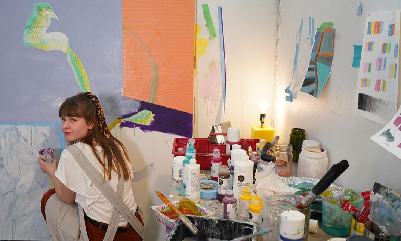 Female student in art studio