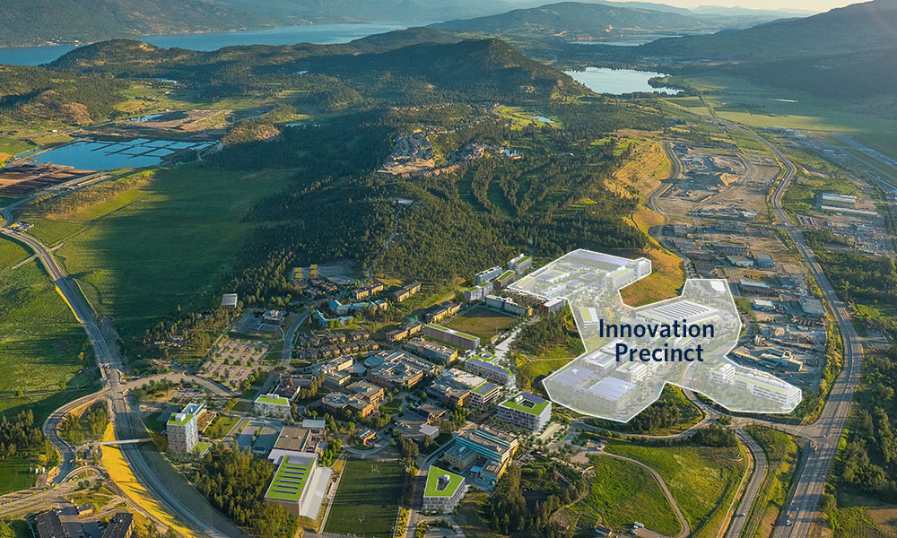 Aerial photo of UBCO campus showing the area of the future Innovation Precinct
