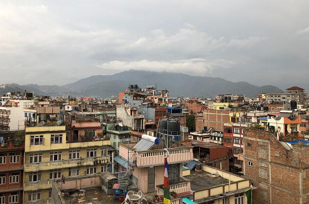 View of rooftops across the Kathmandu Valley