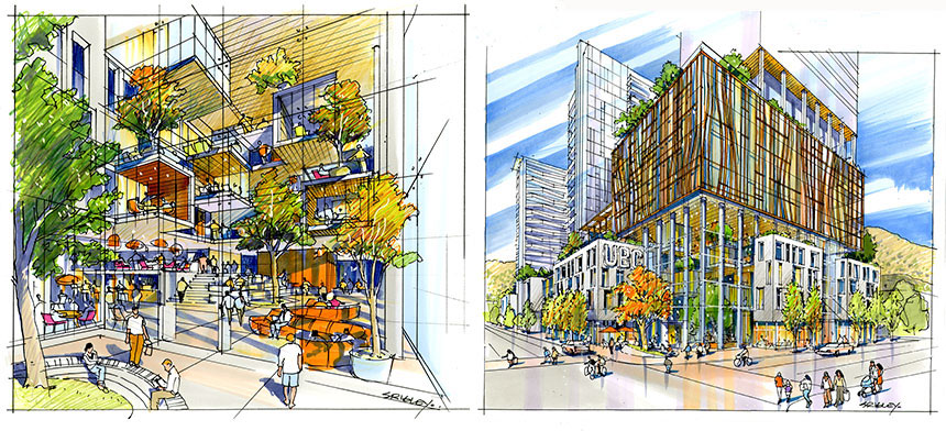 Artist rendering of proposed downtown site, including atrium and street view