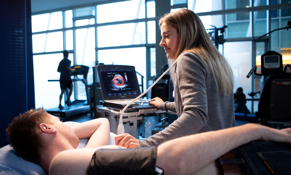 Man getting ultrasound on heart