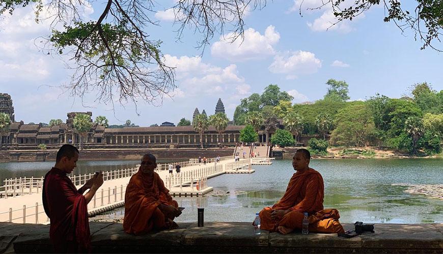 Monks at Angkor Wat in Cambodia.