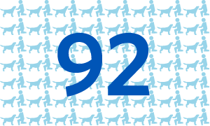 A graphic with the number 92