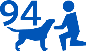 A graphic with the number 94