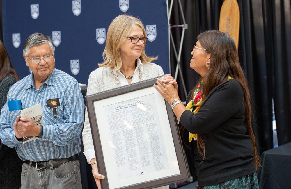 Former UBCO Deputy Vice-Chancellor and Principal Deborah Buszard with Pauline Terbasket, executive director of the Okanagan Nation Alliance