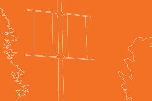 line art illustration of orange banners on campus