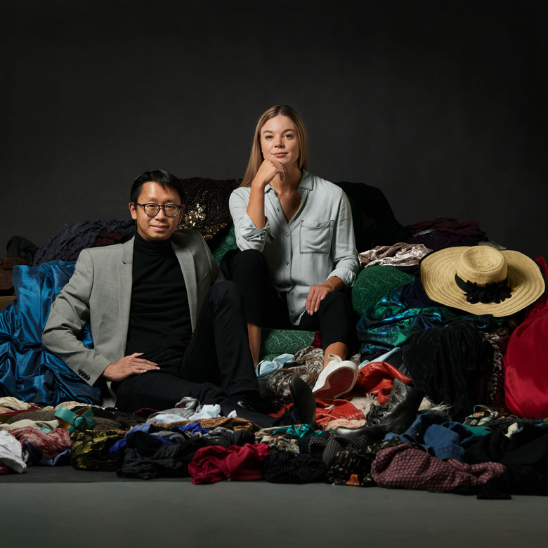 UBC researchers sitting in a pile of clothes